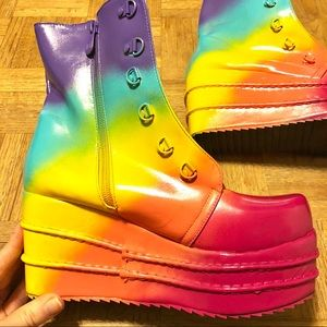 6cf82adf89e Shoes - Rainbow platform boots Gogo rave festival yru